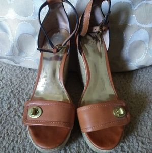 Coach leather high wedges